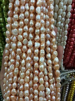"""8-9mm Water pink Freshwater Cultured Pearl Flat Gemstone Loose Beads 13"""""""
