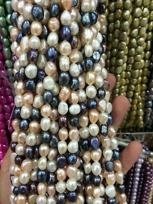 """8-9mm Water Black White pink purple Freshwater Cultured Pearl Loose Beads 13"""""""