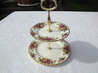 Royal Albert Old Country Roses Cake Stand. 2 tier. First Edition 1962.