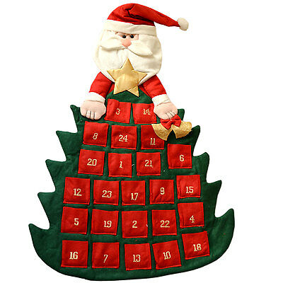 Large Felt Fabric Santa Christmas Tree Advent Calendar Xmas With Pockets