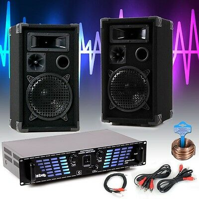 Party Audio equipment Sound system PA Speakers 1200W Amplifier Cable Set DJ