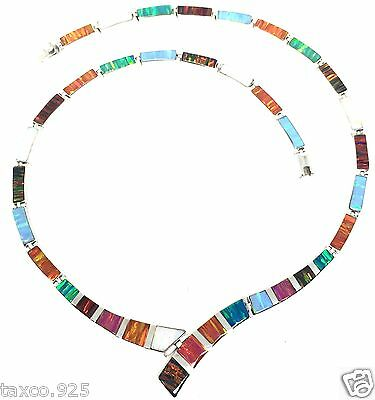Taxco Mexican 950 Sterling Silver Multi Color Iridescent Opal Necklace Mexico