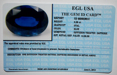 Egl Usa Certified Diffusion Treated Sapphire Blue Oval Shape 0.65 Ct Value $100