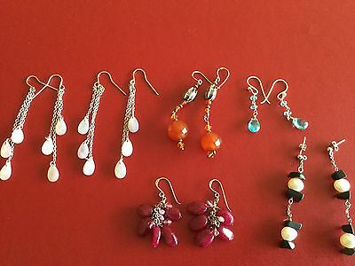 Solid 925 sterling silver freshwater pearls real stones wholesale 6 earrings
