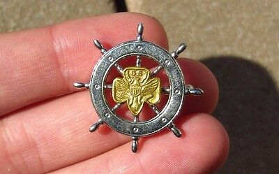 VINTAGE American Mariner Sea GIRL SCOUT SHIPS WHEEL PIN