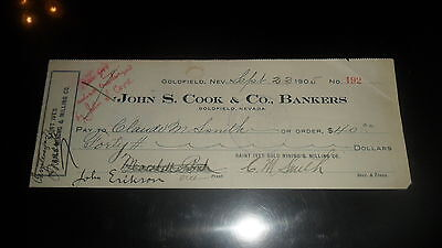 Nevada Bank Check - 1905 John S Cook & Co Bankers - Goldfield Nv. Gold Mining #2