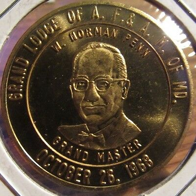 1968 Grand Lodge of A.F.&A.M. of Maryland Masonic Token Coin - MD