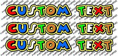 "3x valentino rossi style the doctor text  Custom decal stickers ""46"" - your name"
