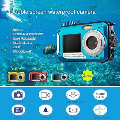 "24MP 2.7"" Double Screen Waterproof Camera Underwater Diving 1080P Video Camera"