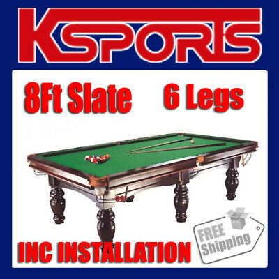 Pub Size Pool Table 8Ft Slate Billiard Snooker Table Green - With Installation -