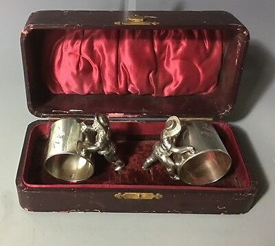 Pair of Victorian Rogers Smith Meridan Silver Figural of Boy Napkin Ring w/ box