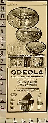 1927 Odeola Player Piano Factory Building Store Front Music Dance Art Ad 2294