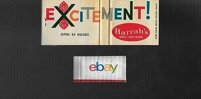Harrah's Casino Reno & Lake Tahoe,excitment! Matchbook Full 1960's