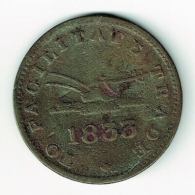 """1833 Halfpenny To Facilitate Trade Copper Token Bowsprit Points Above Final """"a"""""""