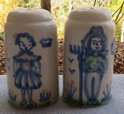 M.A. Hadley Pottery Country Scene Farmer and Wife Salt and Pepper Shakers