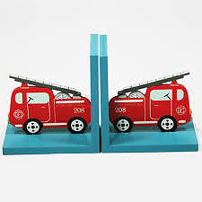 Children's Wooden Fire Engine Bookends New