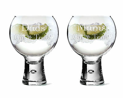 Personalised Large Pair of Thick Stem Gin Glasses, Engraved Gift