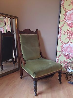 Edwardian Antique Fireside Chair Low Height REFURB PROJECT TO RESTORE