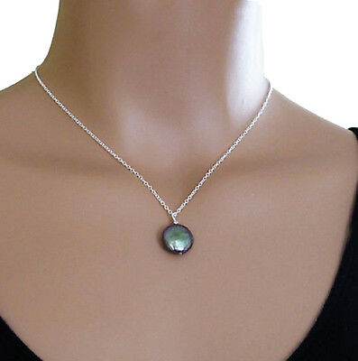 djs Sundance Sol Black Peacock Coin Pearl Sterling Silver Chain Necklace Boho