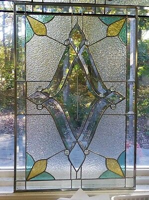 Big, Bold! Stained Glass & Beveled Window Panel!-Handmade by me!