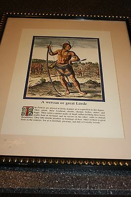 Native American Indian Colored Print Framed Under Glass A Weroan Or Great Lorde