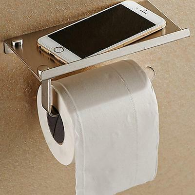 Stainless Steel Bathroom Toilet Roll Paper Phone Holder with Shelf Household