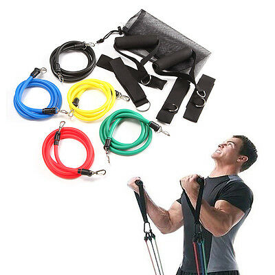 New Exercise Resistance Bands Set Yoga Fitness Workout Stretch Heavy Duty Tubes