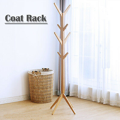 8 Hooks Natural Wooden Hat and Coat Clothes Umbrella Hall Stand Rack Stand 1.75m