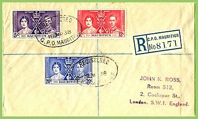 Mauritius 1937 KGVI Coronation set on registered cover to England