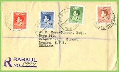 New Guinea 1937 KGVI Coronation set on registered Rabaul cover to England