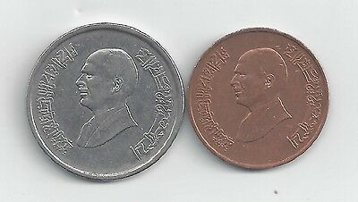 2 DIFFERENT COINS from JORDAN - 1 QIRSH & 10 PIASTRES (BOTH DATING 1996)