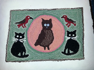 Handmade hooked rug 17 x 25 OWL and CATS and BIRDS