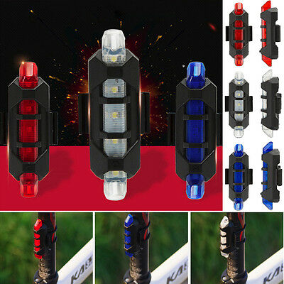 5 LED Bike Bicycle Cycling  USB Rechargeable Tail Warning Light Rear Safety UK