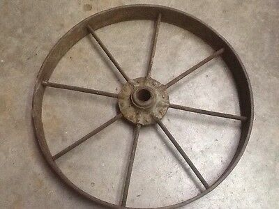 "Antique 8 spoke cast iron 18"" wagon wheelbarrow cart wheel"
