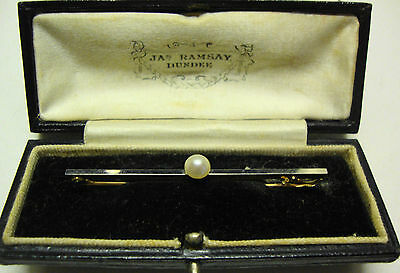 Antique boxed 14ct gold and Platinum with pearl bar brooch