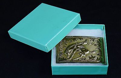 "Vintage Belt Buckle, Silver-Tone Metal, 3D Bucking Bronco Rider, 3.25"" 2.25"""