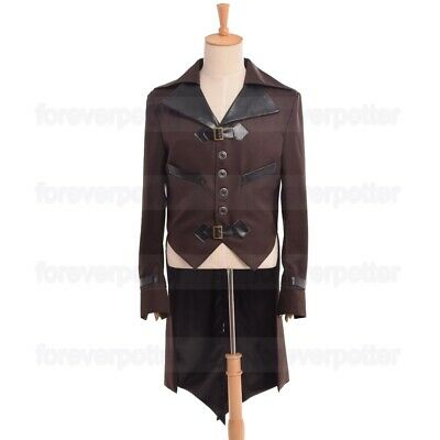 Vintage Mens Swallow-tailed Coat Victorian Steampunk Aviator Overcoat Outwear