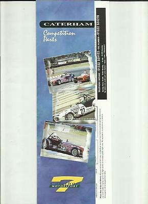 CATERHAM MOTORSPORT COMPETITION PARTS SALES BROCHURE' PLUS PRICES  MID 90's