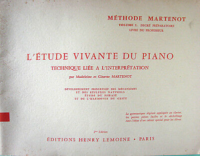 L'etude Vivante Du Piano (Vol.1) Methode Martenot