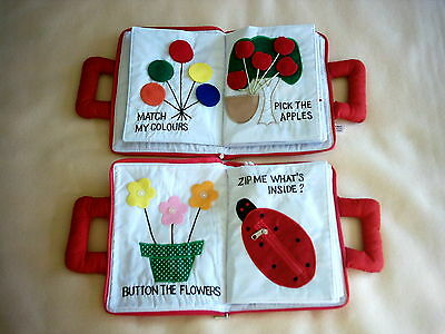 14 pg RED Babies & toddlers soft fabric MY QUIET BOOK improve fine motor skills
