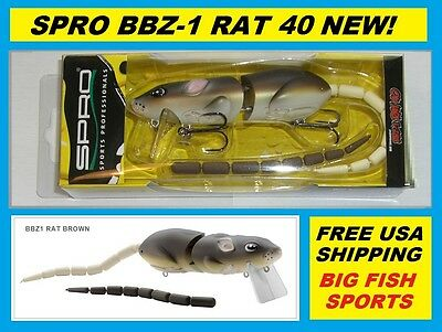 SPRO BBZ-1 RAT 40 Topwater Lure BROWN COLOR NEW! FREE USA SHIPPING! #SRT40Z1BRN
