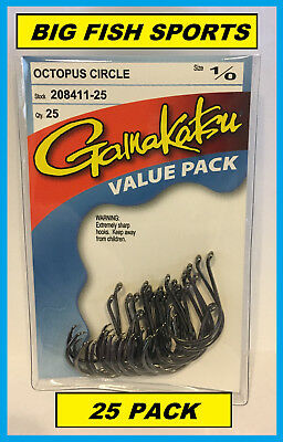 GAMAKATSU #208 OCTOPUS CIRCLE HOOK 25 HOOKS Value Pack 1/0 208411-25 NEW!