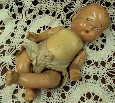 "Vtg COMPOSITION Baby Doll 9"" CREEPY SPOOKY HAUNTED? Restoration Halloween Decor"