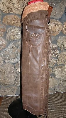 New Old Style Step-in Shotgun Chaps Pocket Hand Tooled Leather Fringe Laced