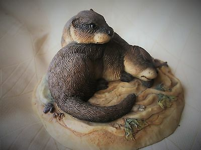 Collectable Rare Teviotdale D Edlmann Pair Of Adorable Otters Sculpture 1990
