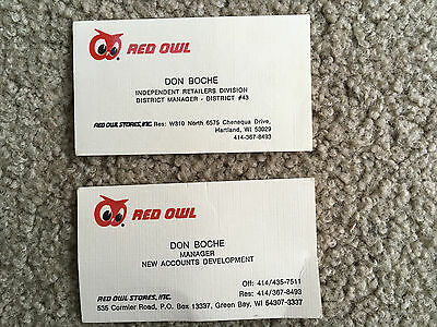 2 RED OWL BUSINESS ADVERTISING CALLING CARDS Grocery Store Green Bay Milwaukee