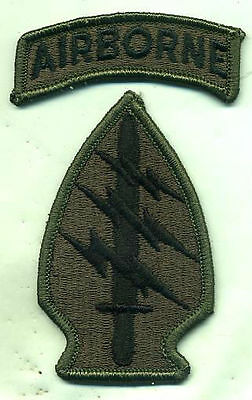 Vietnam Special Forces OD Subdued Green Patch W/Airborne Tab