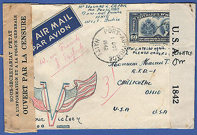 N205 - HAITI 1942 WWII US Censored cover + Hand-drawn Victory Flags in color