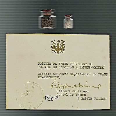 EARTH & STONE FROM NAPOLEON'S GRAVE, ST. HELENA----Martineau Collection