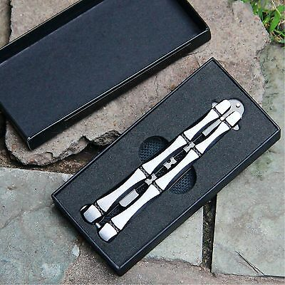 Bamboo Metal Practice Balisong Butterfly Knife Trainer w/ Sheath & Box Tool Set